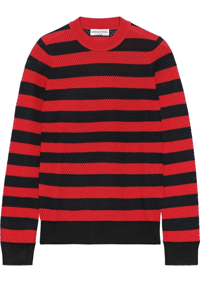 Sonia Rykiel Woman Striped Open-knit Wool-blend Sweater Red