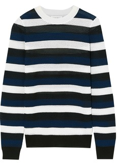 Sonia Rykiel Woman Striped Open-knit Wool-blend Top Midnight Blue