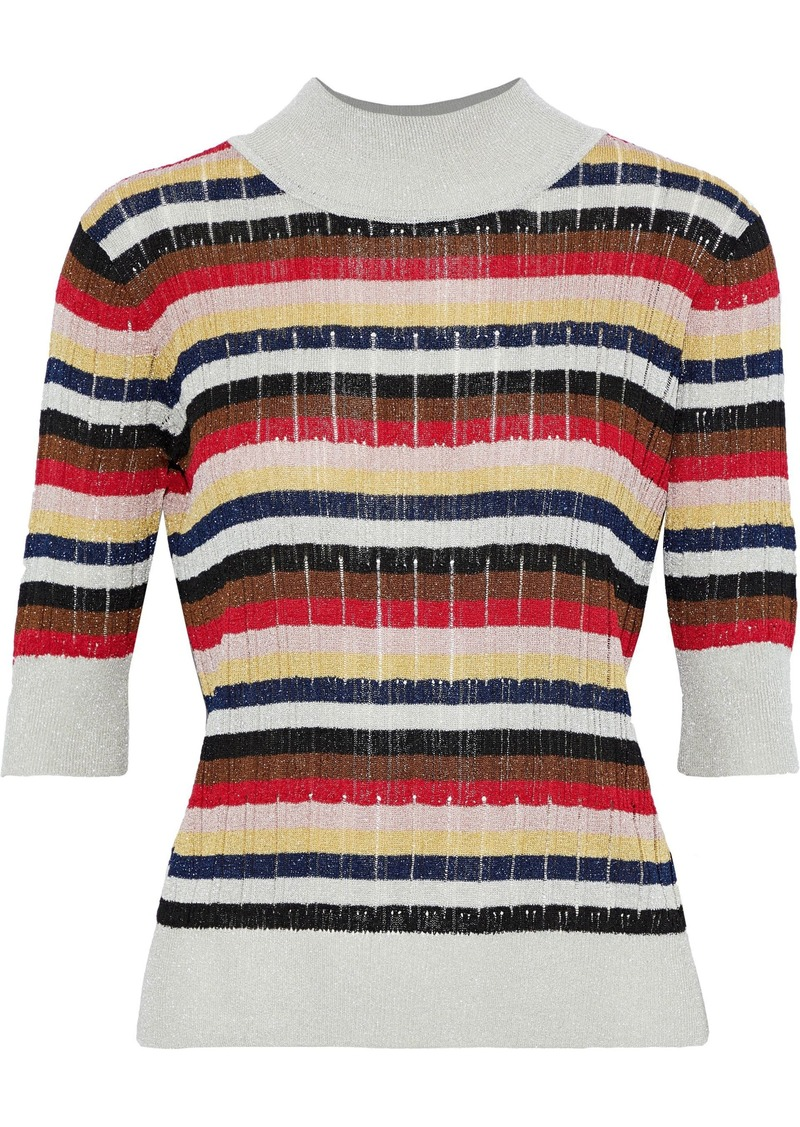Sonia Rykiel Woman Striped Ribbed Lurex Top Multicolor