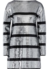 Sonia Rykiel Woman Striped Sequined Stretch-knit Mini Dress Silver