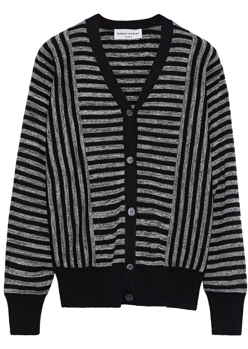 Sonia Rykiel Woman Striped Silk And Cotton-blend Cardigan Black