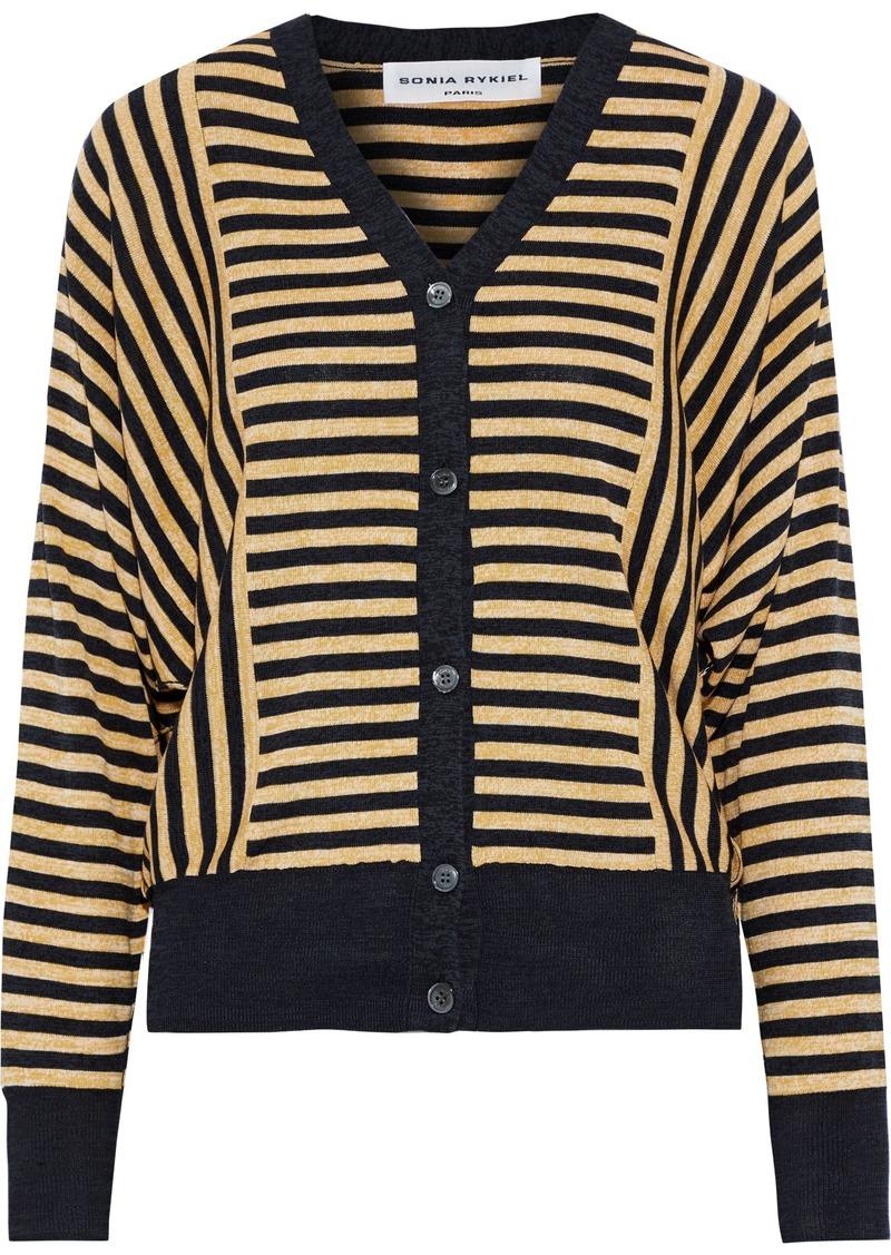 Sonia Rykiel Woman Striped Silk And Cotton-blend Cardigan Pastel Yellow