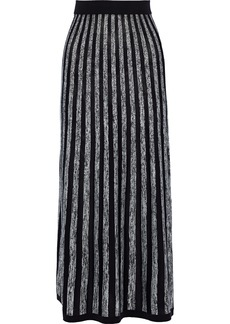 Sonia Rykiel Woman Striped Silk And Cotton-blend Maxi Skirt Black