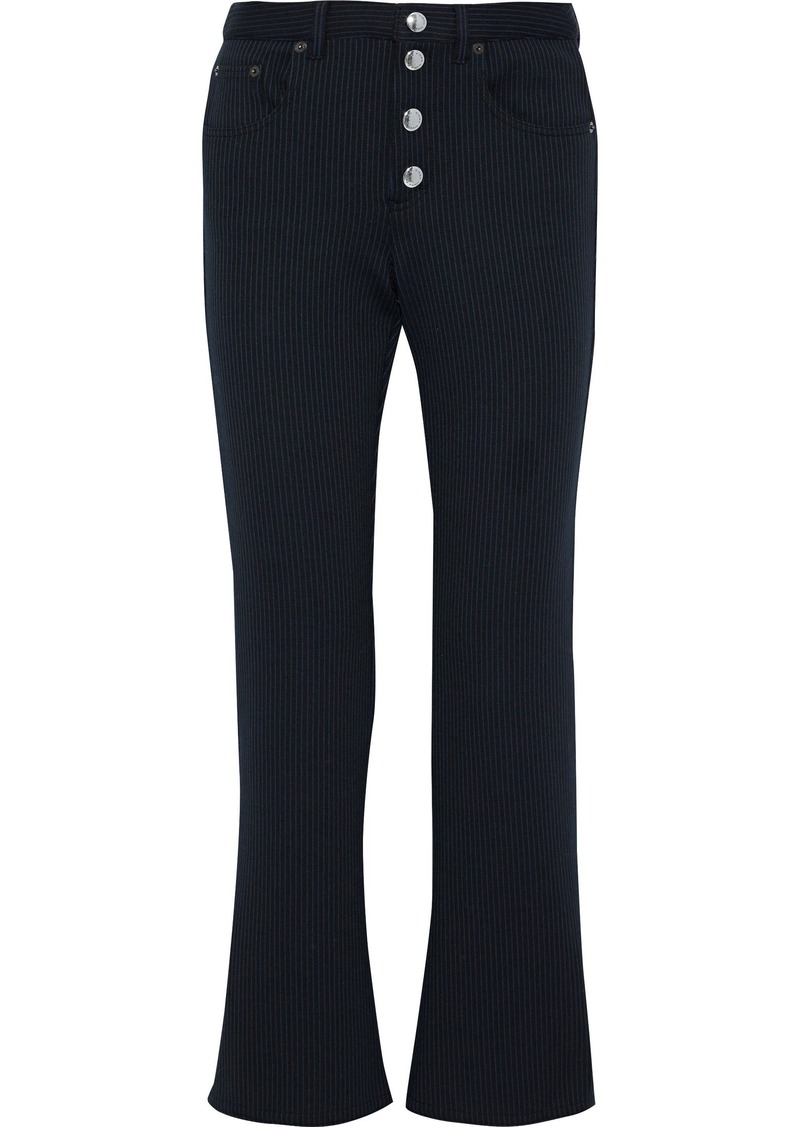Sonia Rykiel Woman Striped Stretch-knit Bootcut Pants Black