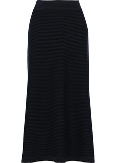 Sonia Rykiel Woman Striped Stretch-knit Midi Skirt Black
