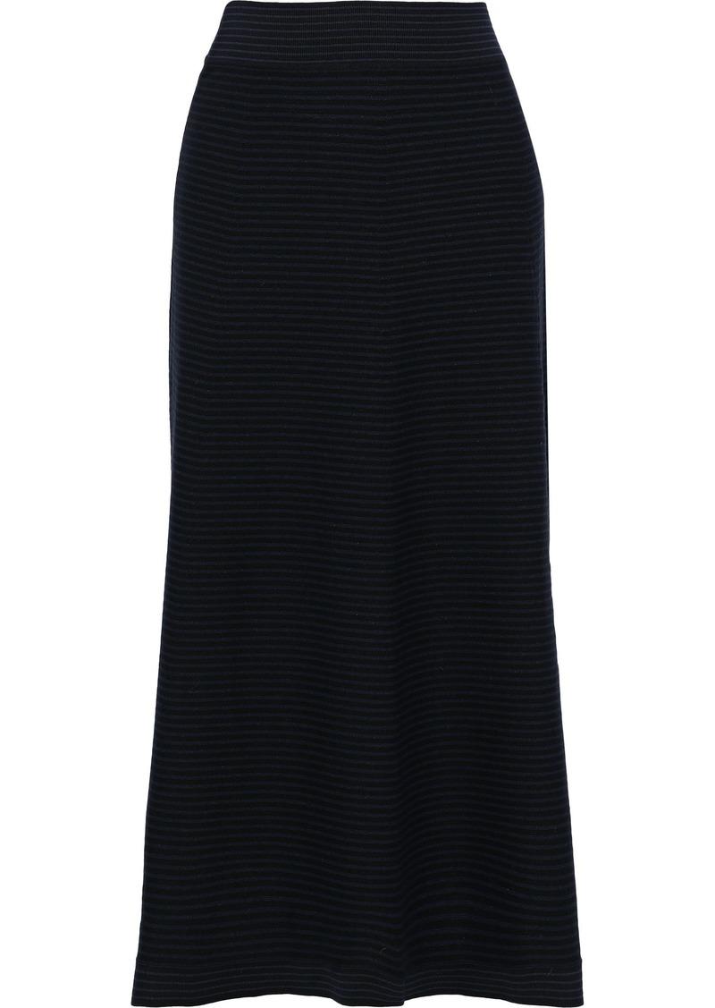Sonia Rykiel Woman Striped Stretch-knit Midi Skirt Black