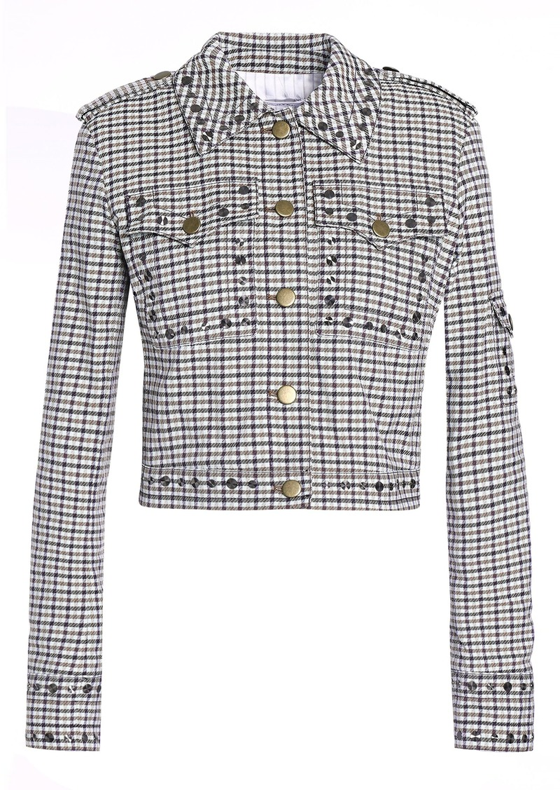 Sonia Rykiel Woman Studded Checked Jacquard Jacket Light Gray