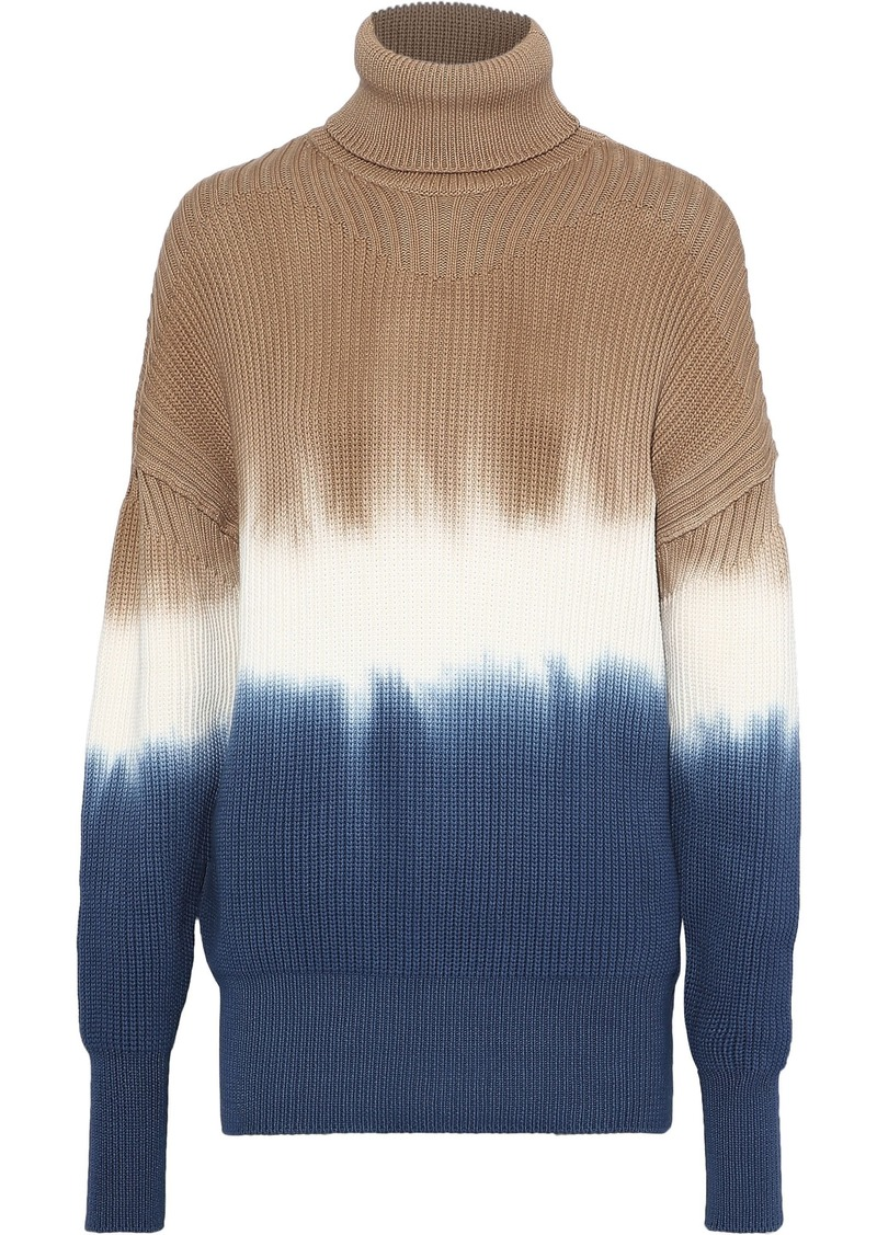 Sonia Rykiel Woman Tie-dyed Cotton-blend Turtleneck Sweater Sand