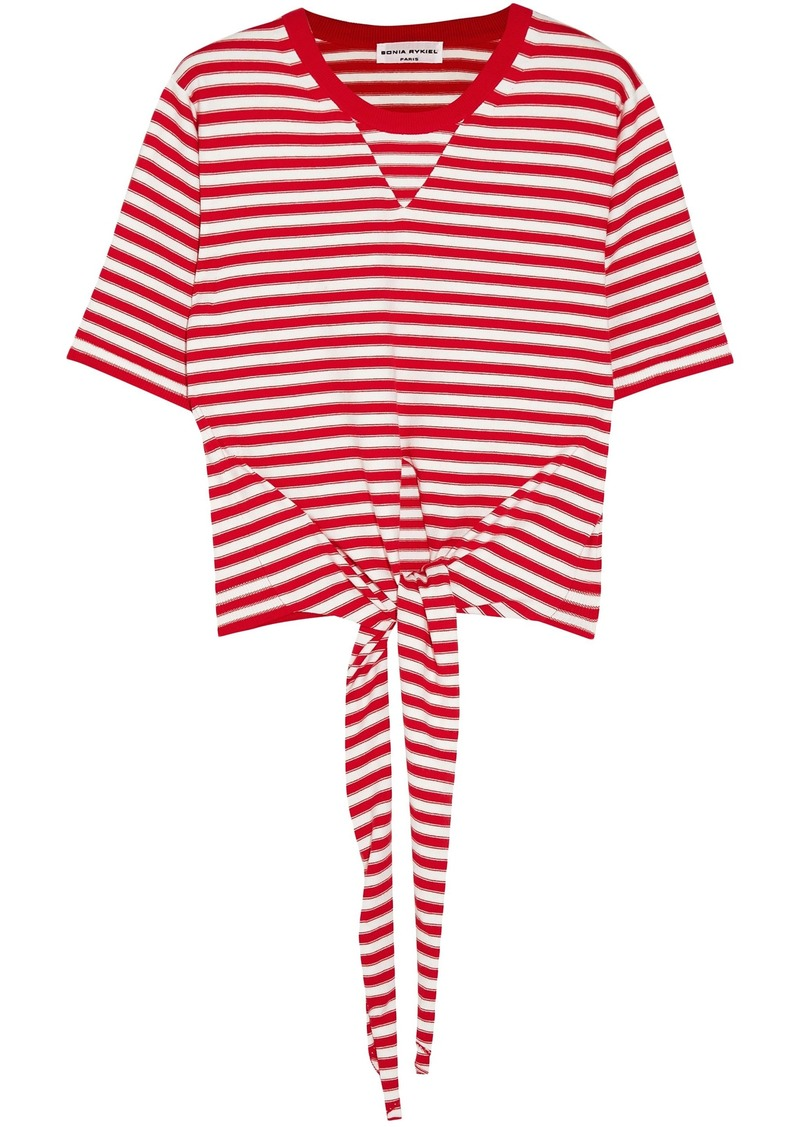 Sonia Rykiel Woman Tie-front Striped Cotton-blend Jersey T-shirt Red