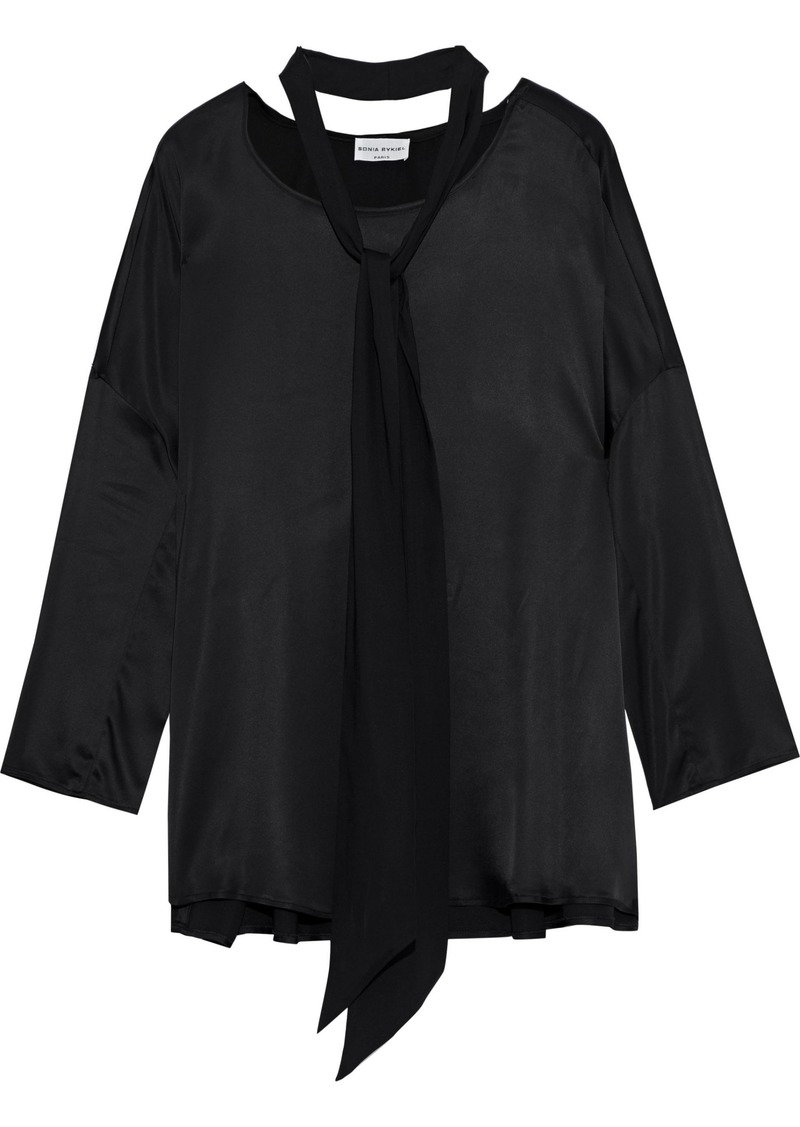 Sonia Rykiel Woman Tie-neck Satin Blouse Black