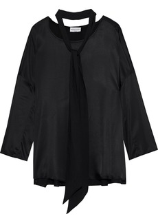 Sonia Rykiel Woman Tie-neck Satin Blouse Black