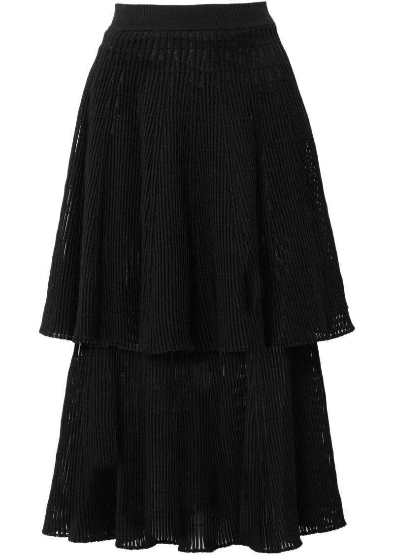 Sonia Rykiel Woman Tiered Ribbed Wool-blend Midi Skirt Black