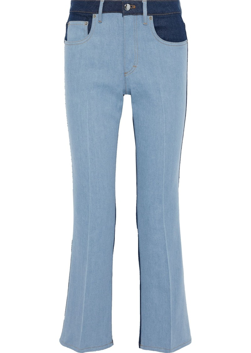 Sonia Rykiel Woman Two-tone Mid-rise Bootcut Jeans Light Denim