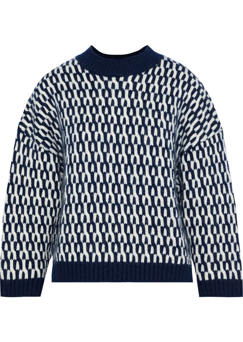 Sonia Rykiel Woman Wool And Mohair-blend Jacquard Sweater Navy