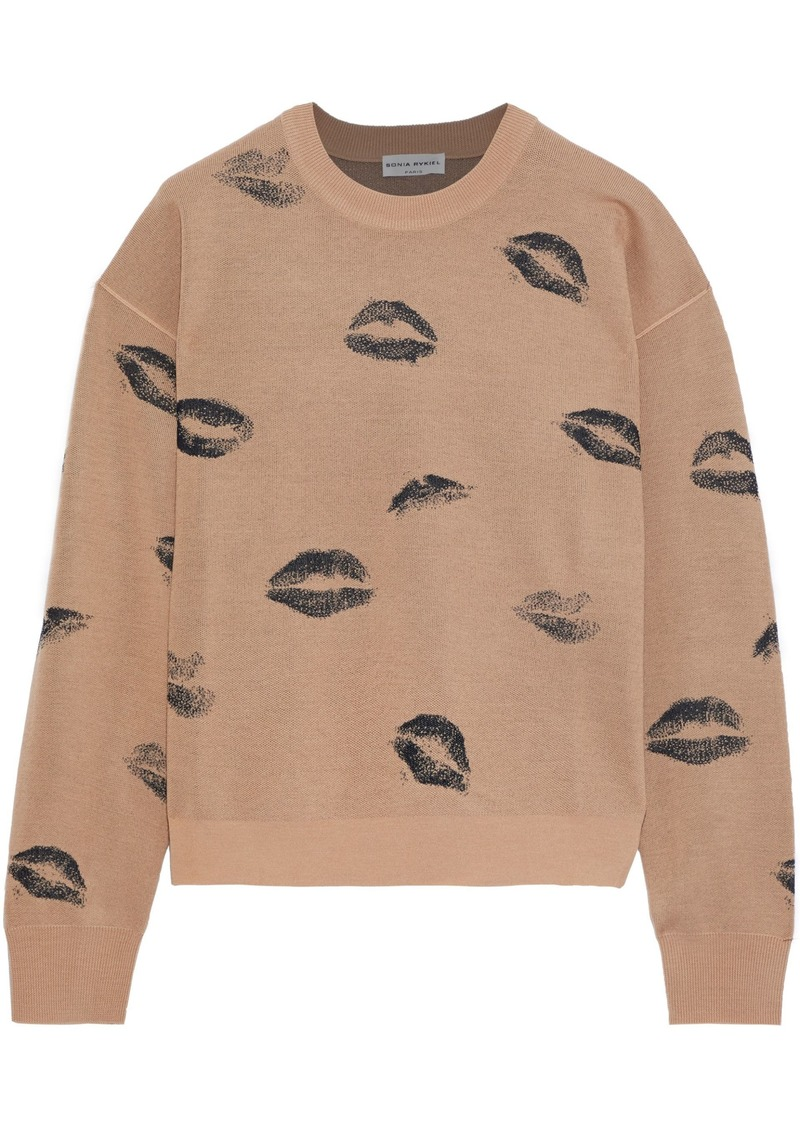 Sonia Rykiel Woman Wool-blend Jacquard Sweater Sand
