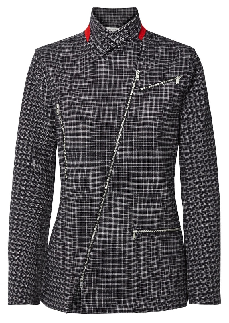 Sonia Rykiel Woman Zip-detailed Checked Tweed Jacket Black