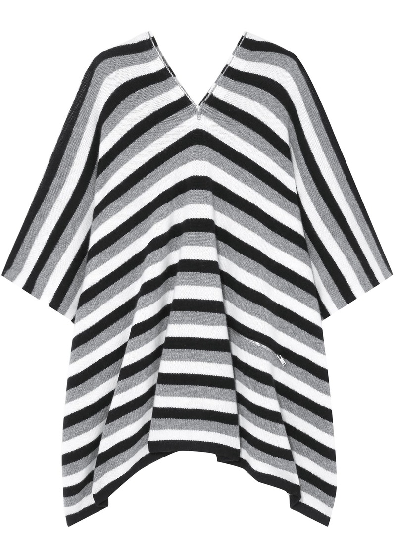 Sonia Rykiel Woman Zip-detailed Striped Cashmere Poncho Gray