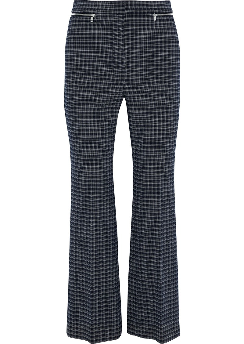 Sonia Rykiel Woman Zip-embellished Checked Tweed Flared Pants Midnight Blue