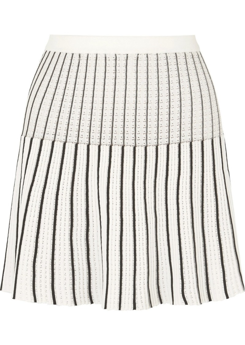 Sonia Rykiel Striped Ribbed-knit Cotton-blend Mini Skirt