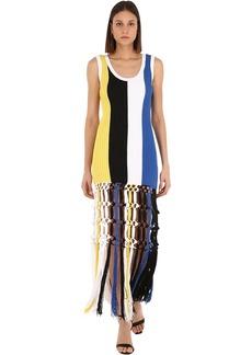 Sonia Rykiel Striped Cotton Macramé Dress W/ Fringes