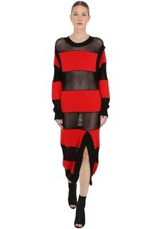 Sonia Rykiel Striped Mesh & Cotton Knit Dress