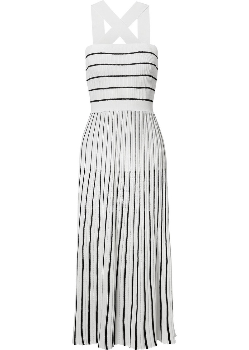 Sonia Rykiel Striped Ribbed-knit Cotton-blend Midi Dress