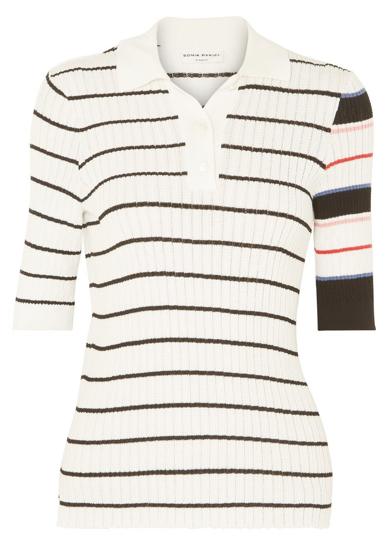 Sonia Rykiel Striped Ribbed-knit Cotton-blend Polo Shirt