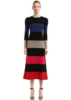 Sonia Rykiel Striped Stretch Wool Blend Knit Dress