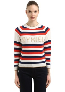 Sonia Rykiel Striped Wool Blend Sweater W/ Pearls