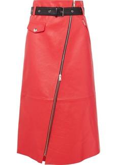 Sonia Rykiel Zip-embellished Belted Leather Midi Skirt