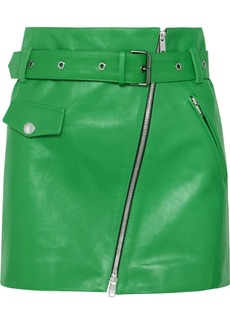 Sonia Rykiel Zip-embellished Belted Leather Mini Skirt