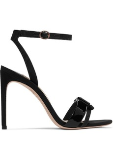 Sophia Webster Andie Bow Moire-trimmed Glittered And Patent-leather Sandals