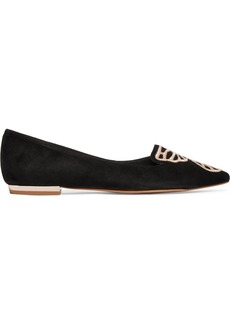 Sophia Webster Butterfly Embroidered Suede Point-toe Flats