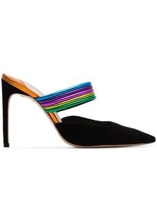 Sophia Webster Black Joy 100 rainbow strap suede pumps