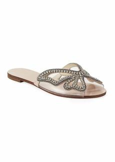 Sophia Webster Madame Crystal Butterfly Flat Slide Sandals  Nude