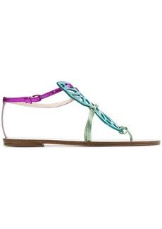 Sophia Webster multicoloured Bibi butterfly flat metallic leather sandals
