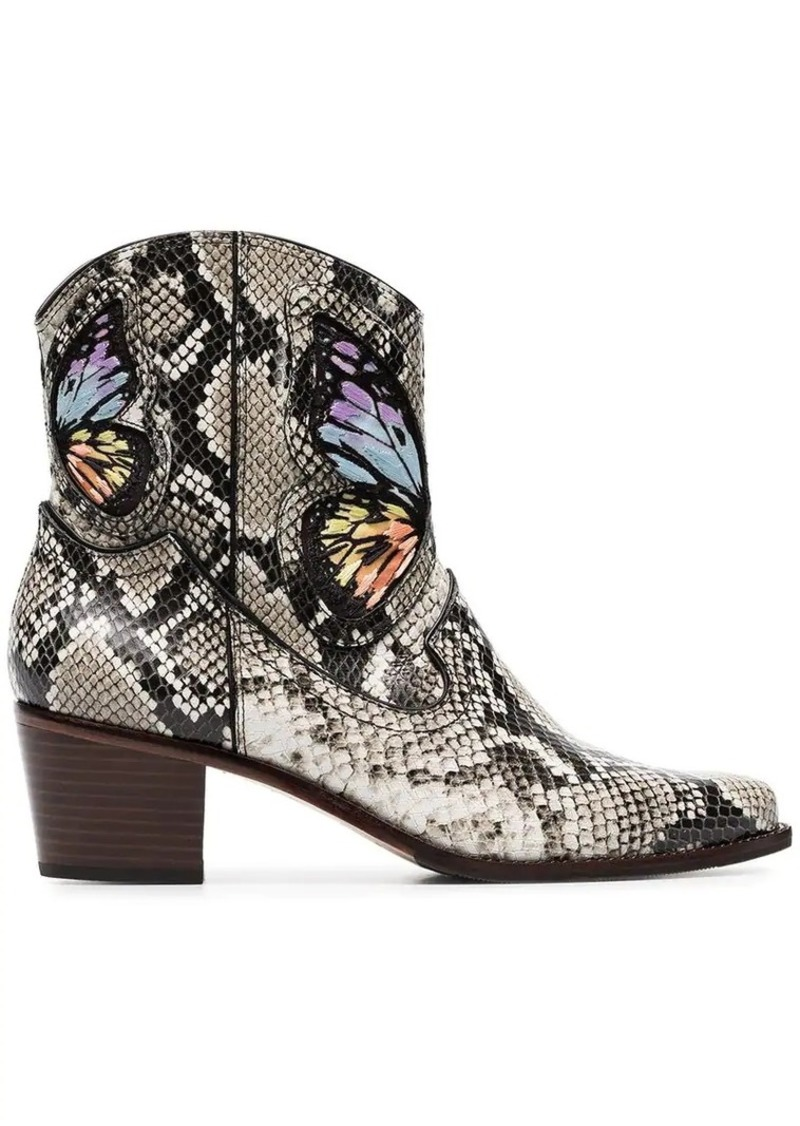 multicoloured Shelby 50 snake print leather cowboy boots