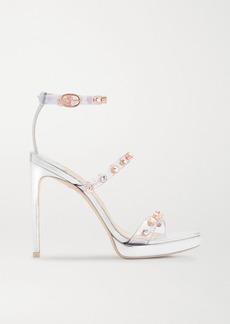 Sophia Webster Rosalind Crystal-embellished Pvc And Metallic Leather Platform Sandals