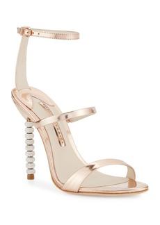 Sophia Webster Rosalind Crystal-Heel Leather Sandals  Rose Gold