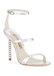 Sophia Webster Rosalind Crystal-Heel Leather Sandals  Silver