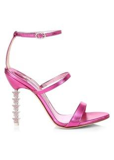 Sophia Webster Rosalind Crystal-Star Heel Metallic Leather Sandals