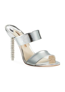 Sophia Webster Rosalind Metallic Leather Crystal-Heel Slide Sandals
