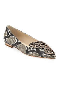 Sophia Webster Snake-Embossed Leather Butterfly Flats
