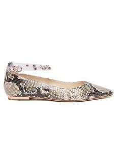 Sophia Webster Dina crystal-strap python-effect leather flats