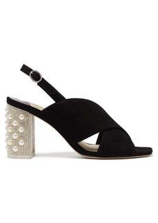 Sophia Webster Nina crystal-embellished suede slingback sandals