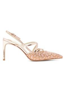 Sophia Webster Odette leopard-jacquard mirrored-leather sandals