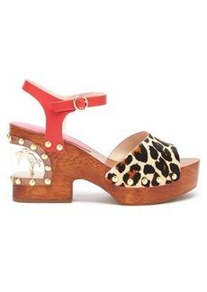 Sophia Webster Paradise leopard-print wood & PVC clogs