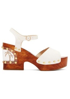 Sophia Webster Paradise palm-tree leather clogs