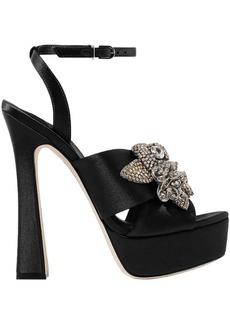 Sophia Webster Woman Lilico Crystal-embellished Satin Platform Sandals Black