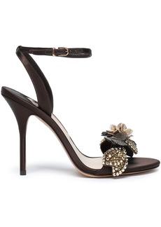 Sophia Webster Woman Lilico Floral-appliquéd Satin Sandals Chocolate